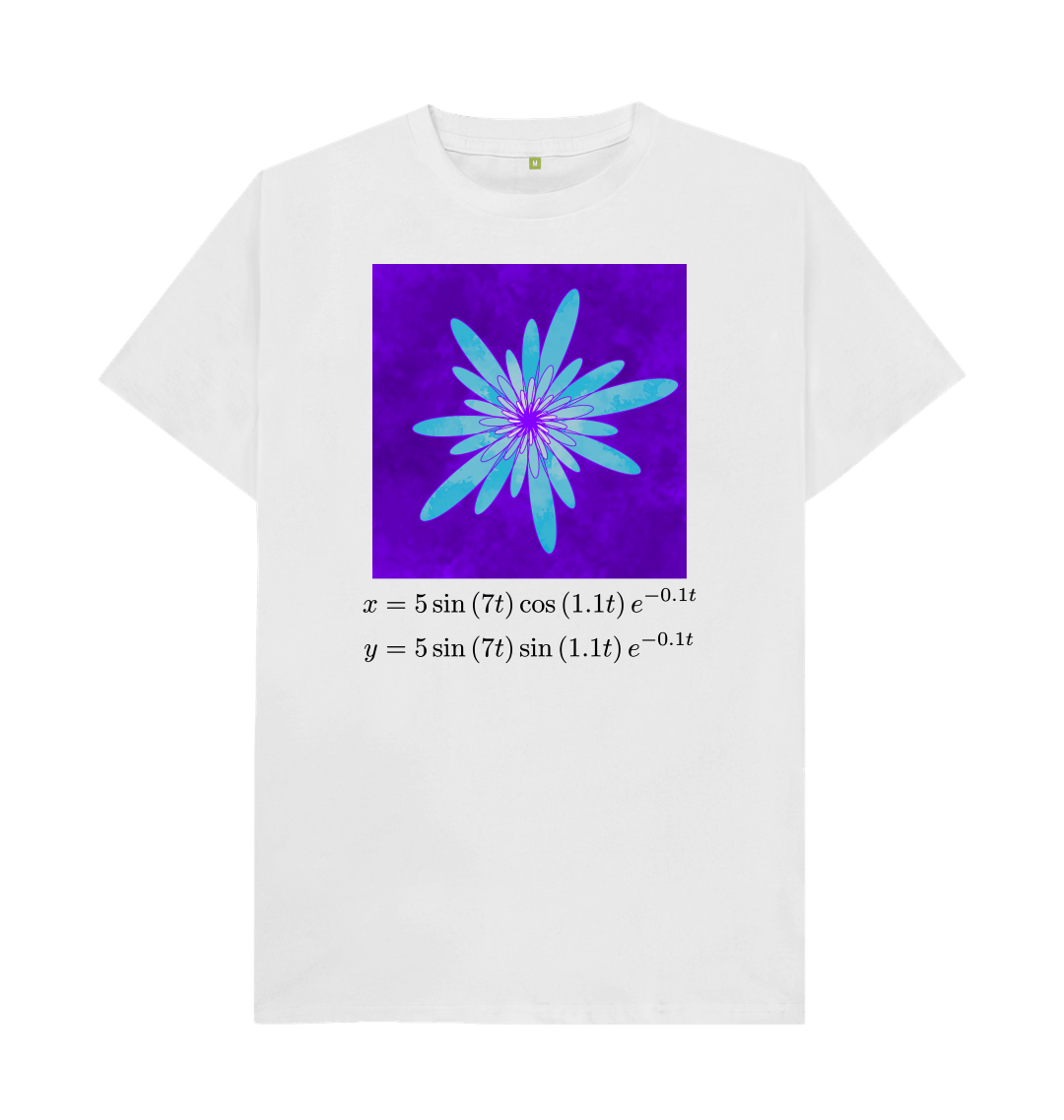 White Spirally Flower With Equations - Loose Fit